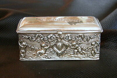 Antique Repousse Silver Plate STAMP BOX w/ Ink Well or Water Well SIMPSON HART