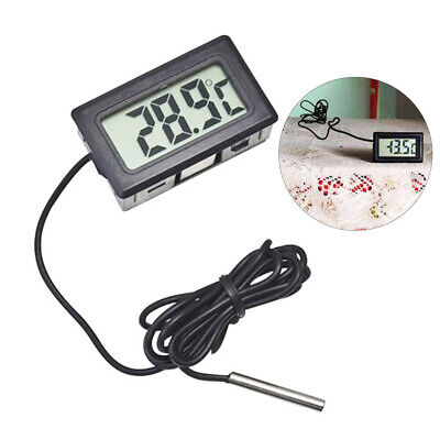 Digital LCD Aquarium Fish Tank Temperature Thermometer With Waterproof Probe Fin