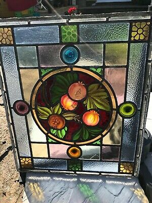 Original Victorian Stained Glass Leaded Panel - Bottle Glass - Rare