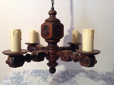 Vintage French Turned Wooden Farmhouse 4 Arm Chandelier Light (3783)