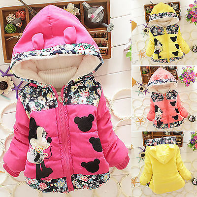 Kids Baby Girls Floral Minnie Mouse Hooded Jacket Winter Warm Coat Zip Snowsuits