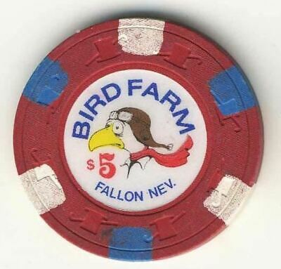 Bird Farm Casino Fallon NV $5 Chip 1988