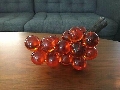 "Vintage Lucite Acrylic GRAPES Amber Orange 11"" 1960s 1970s Decor Kitschy"