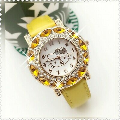 Hello Kitty Yellow & Clear Cz Stone Womans Hw Watch Free Shipping In 3-5 Days