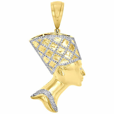 10K Yellow Gold Egyptian Queen Nefertiti Mens Real Diamond Pendant Charm 0.47 Ct