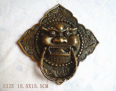 "Chinese Bronze Foo Dog Lion square Door Knocker 6""High"