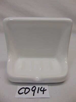 Vintage Mid-Century Ceramic Soap Dish Holder White Wall Tray For Tile