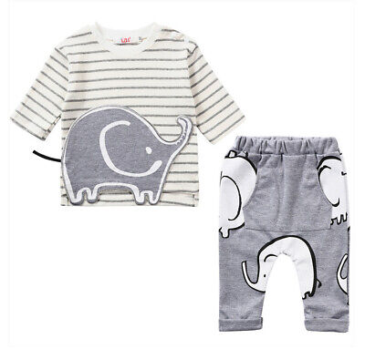 Toddler Kids Baby Boy Clothes Boys Outfits Sets Short T-Shirt + Pants Elephant