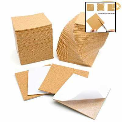 "100 Pcs Self Adhesive Cork Sheets 4""X 4"" For DIY Coasters Board Squares Tiles Ma"