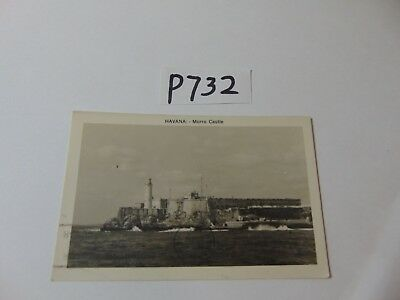 Vintage Postcard Stamp Posted 1945 1940'S Havana Cuba Morro Castle From Water