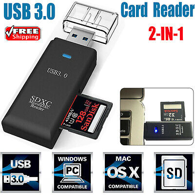 USB 3.0 High Speed 2 in 1 Memory Card Reader Flash Adapter Micro SD SDXC TF P3