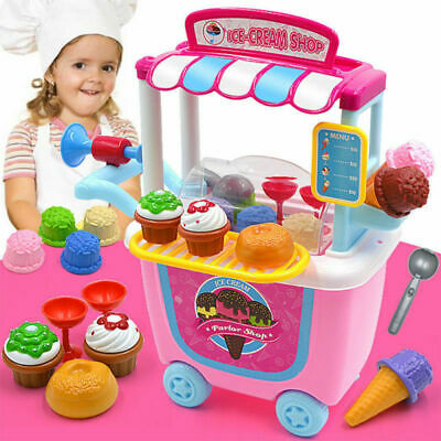 Kids Simulation Ice Cream Shop Dresser Cart Pretend Role playSet Fancy Toys Gift