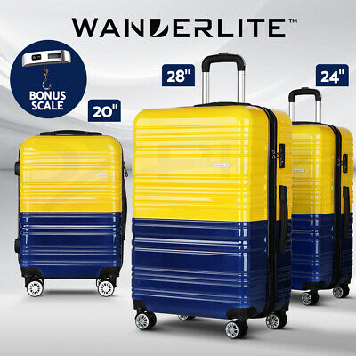 Wanderlite 3pc Luggage Sets Suitcase Yellow Trolley TSA Hard Case Lightweight