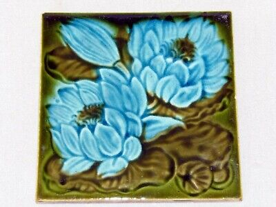Antique. Art Nouveau, Majolica Water Lilly Tile, C 2 On Reverse.