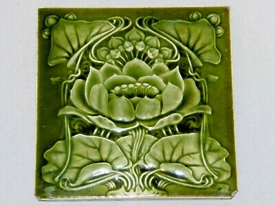ANTIQUE. ART NOUVEAU, MAJOLICA WATER LILLY TILE, PRINTED MARK K303B, Rd 357240.