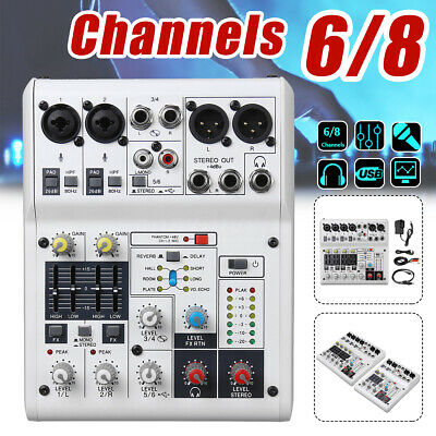 6/8 Channels Studio Audio Mixer Sound Console Mixing Portable Record USB Power