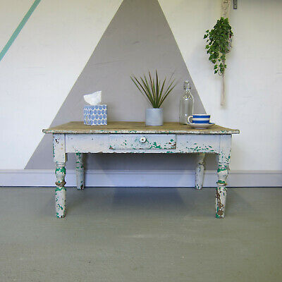 Antique Coffee Table Rustic Pine Chippy Paint Victorian Vintage French