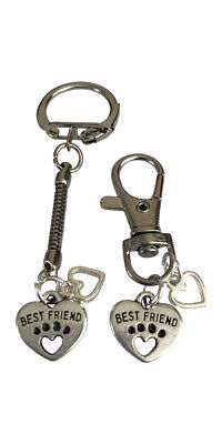 Cat & Owner Best Friend Friendship Set - Keyring And Collar Charm