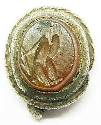 3rd century AD Ancient Roman Carnelian Gemstone in later Medieval Silver Pendant