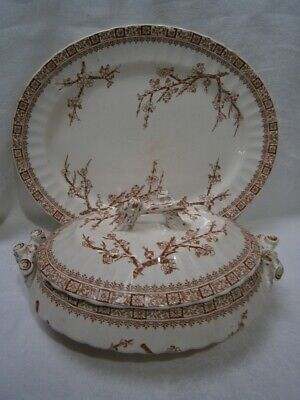 "BEAUTIFUL ANTIQUE TUREEN & MEAT PLATE IN ""THORN"" DESIGN  MARKED K & Cd   IVORY"
