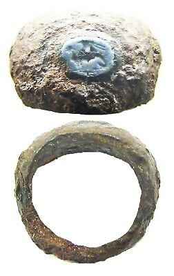 1st century B.C. / A.D. Excavated Roman Iron & Nicolo Glass Sphinx Intaglio Ring