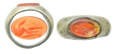 2nd century AD Ancient Roman silver & Carnelian intaglio ring of a red squirrel