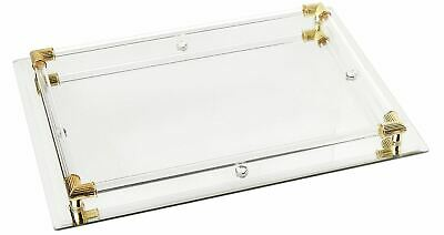 Jay Companies Mirror Glass Perfume Cologne Vanity Tray & Holder 9x12 Gold/Clear