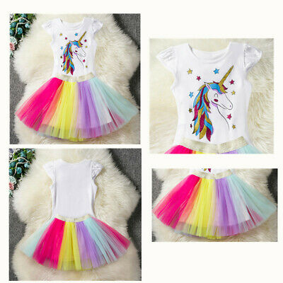Kids Girls Unicorn Tutu T Shirt Skirts Rainbow Dress Cosplay Outfit Party Belle