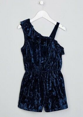 Girls BNWT Candy Couture Navy Velvet Frill Playsuit age 14 (AP1254)