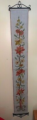 """Embroidered Needle Point Petit Point Floral Bell Pull Cast Iron hardware 48"""""""