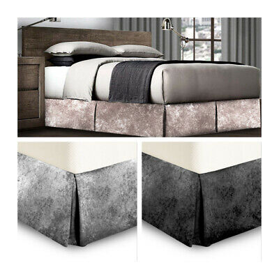 Crushed Velvet Bed Wrap Platform Valance Divan Frame Elasticated EasyFit Grey