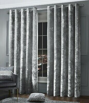 Crushed Velvet Ring Top Eyelet Fully Lined Ready Made Curtain Pair Silver Grey