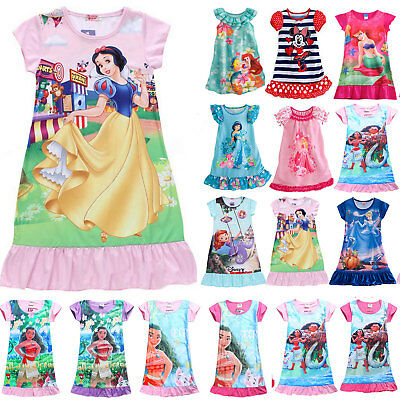 Kids Girls Summer Cartoon Nightdress Nightwear Pajama Nightgown Sleepwear Dress