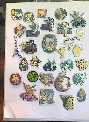 Disney Tinker Bell Trading Pins Lot Of 30 Dangle Glitter 3D Collection Lanyard