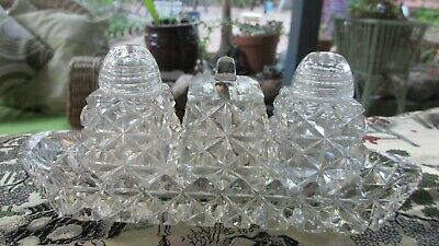 Vintage CRYSTAL Glass CONDIMENT / CRUET SET  ,mustard  with Spoon on Tray