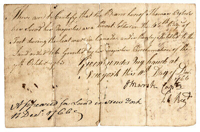1766 French + Indian War 46th Reg. Soldiers 1763 Land Grant Per Proclamation