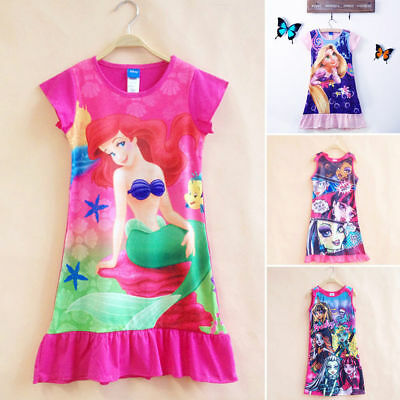Kids Girls Summer Pajamas Sleepwear Cartoon Nightwear Nightgown Princess Nightie