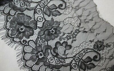 """3.25 yards black sheer scallop sewing non stretch lace eyelash 9.5"""" extra wide"""