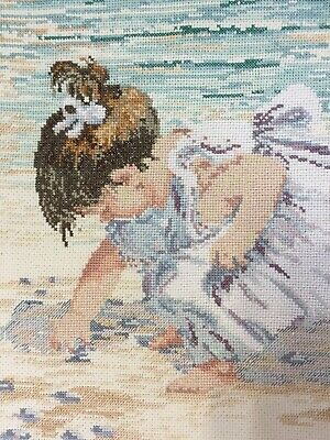 Finished Completed Cross Stitch Janlynn Girl Collecting Sea Shells Oceanside Lg