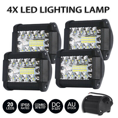 Newest 4x 4 inch LED Work Light Bar Spot Flood Off Road Driving Reverse 60W 12V