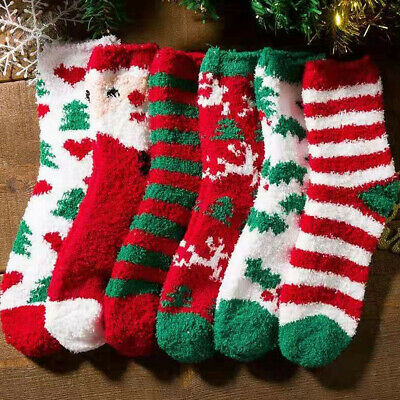 4 Pairs Ladies Soft Fluffy Cosy Bed Socks Winter Warm Christmas Gift Casual