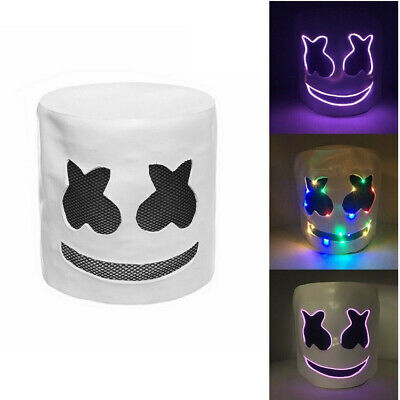 MarshMello DJ LED Mask Full Head Helmet Halloween Cosplay Mask Music Marshmallow