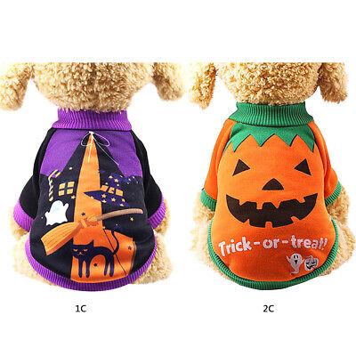 Small Pet Dog Cat T Shirt Halloween Pumpkin Witch Coat Clothes Outfit Costume UK