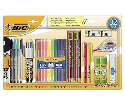 New Bic Stationery Set Writing Pens Pencils Back to School Office College 32 Pen