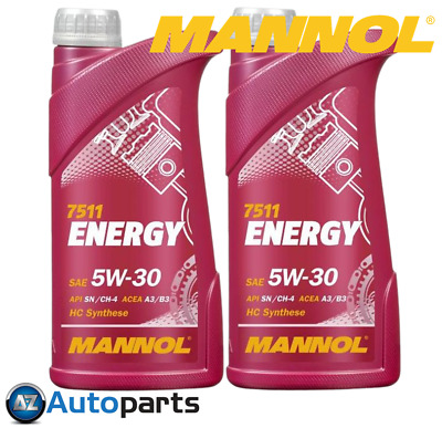 Mannol - 2x Energy 5W30 Car Engine Oil SL/CF ACEA A3/B3 Fully Synthetic - 1L