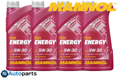 Mannol - 4x Energy 5W30 Car Engine Oil SL/CF ACEA A3/B3 Fully Synthetic - 1L