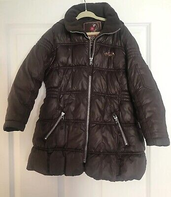 Next Girls Brown Hooded Padded Puffa Quilted Coat Age 5-6 Years