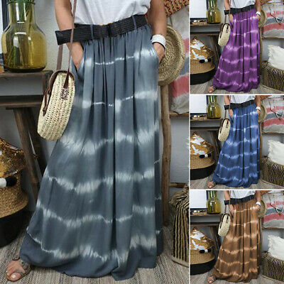 ZANZEA 8-24 Women Summer Flare Swing Stripe Long Maxi Elastic Waist Skirt Dress