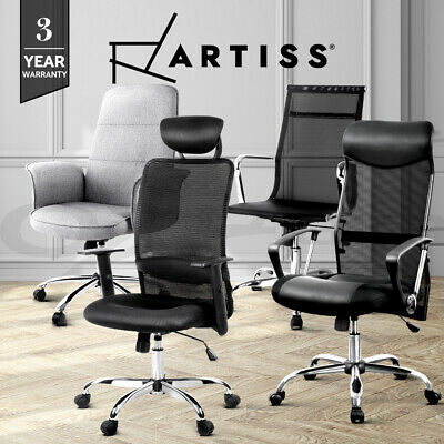 Artiss Office Chair Computer Chairs Gaming Seat PU Leather Mesh Grey Black