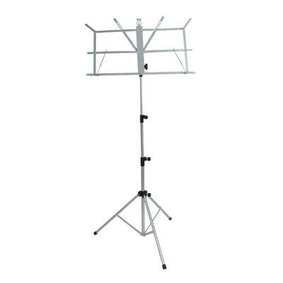 Metal Adjustable Sheet Music Stand Folding Foldable w/ Carry Bag, Silver